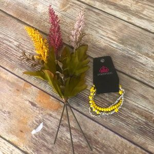 Silver and yellow triple bracelet